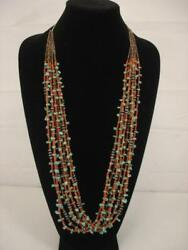 Navajo 8 Strand Mediterranean Coral Turquoise Sterling Silver Beads Necklace Big