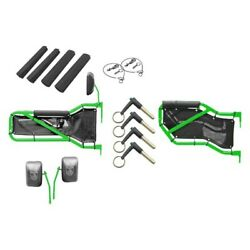 For Jeep Wrangler Jk 18 Neon Green Front And Rear Tube Door Kit W Red Mesh