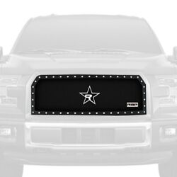 For Ford F-150 15-17 1-pc Rx-5 Halo Series Chrome Dual Weave Mesh Main Grille