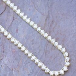 10k Yellow Gold Over 3 Prong Tennis Chain 16 Necklace In 33.19 Carat Diamonds