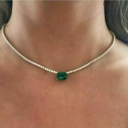17.12ct Emerald And Diamond Women's Wedding Tennis Necklace In 14k White Gold Over