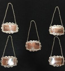 Decanter Tags Liquor Bottles Sterling Silver Brandy Gin Scotch Sherry And Blank
