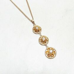1890s Victorian 10k Yellow Gold Mine Cut Diamond Pendant With Chain 0.19 Cts