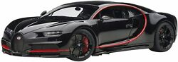 Bugatti Chiron Nocturne Black With Red Accents 1/18 Model Car By Autoart 70