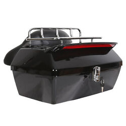Tour Pack Trunk Tail Luggage Box W/ Light + Top Rack + Backrest For Harley Honda