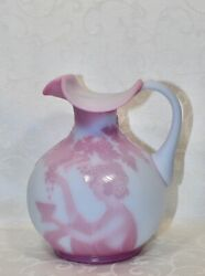 Fenton, Pitcher, Blue Burmese Glass, Cameo Carved Glass, Limited Edition.