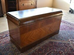 Antique Art Deco Waterfall Style Cedar Blanket Hope Chest, Lock Removed