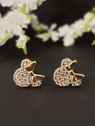14k Solid Yellow Gold Mouse Girl Earrings Studs Micropave