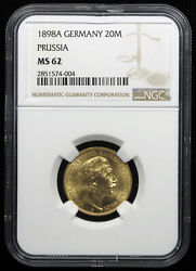 German States Prussia 1898a 20 Mark Gold Coin Ngc Ms62