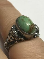 Sterling Silver Green Turquoise Madusa Face Rings Size 5