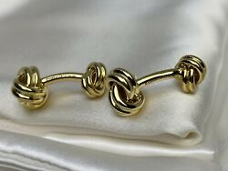 3,550 Rare Vintage And Co. 18k Yellow Gold Double Knot Cuff Links 13x28mm