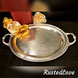 Rogers And Brothers Mayfair 1780 Silver Plated Oblong Serving Tea Tray Vintage