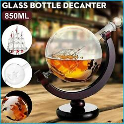 850ml Etched Globe Design Decanter Whiskey Wine Decanter With Wood Frame For