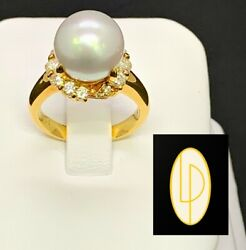 Solid 18kt Yellow Gold South Sea Pearl 10.9mm And White Diamonds 0.65ct Ring