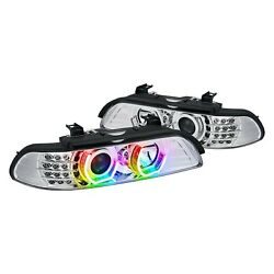 For Bmw 540i 97-03 7 Color Chrome Drl Bar Projector Headlights W Led Turn Signal