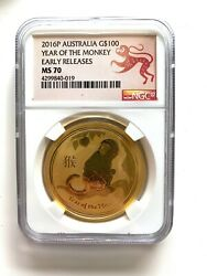 2016p Ngc Gold Australia G100 Year Of The Monkey Early Releases Ms70