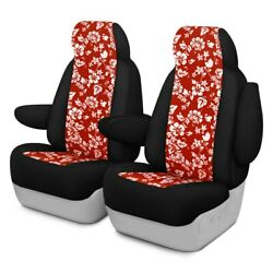 For Chrysler Pacifica 17-20 Hawaiian 1st Row Red W Black Custom Seat Covers