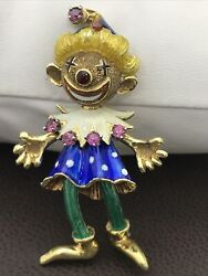 14k Antique Enamel And Ruby Brooch Clown 2andrdquo