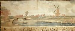 Vintage Tapestry Wall Decor Dutch River Boating Scene