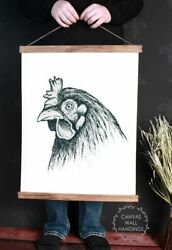 Canvas Wall Hanging Wood Farmhouse Sign Rooster Head Farm Line Art Animal Face