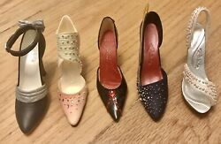 Collectible Miniature Stunning 5 Shoes Andldquojust The Right Shoeandrdquo With Crystals. Wow