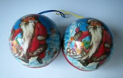 Lot Of 2 Vintage Paper Mache Christmas Ornament Balls Candy Container