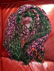 Louis Vuitton Fuchsia And Khaki Sold Out Amazing Legendary Leopard Shawl Scarf