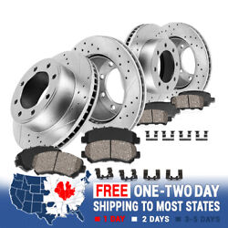Front+rear Drill Slot Brake Rotors And Ceramic Pads For F250 F350 2wd Super Duty