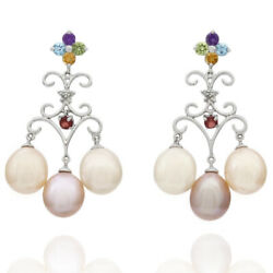 11.6mm Pink Pearl Chandelier Earrings W/ Multi Color Gem Accents 14k White Gold