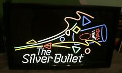 Rare Vintage Coors Light The Silver Bullet 1980's Neon Lighted Colors 26x16