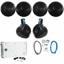 4 Rockville Rmc80b 8 1600w Marine Boat Speakers+8 Wakeboards+6-ch Amp+wire Kit