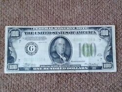 1934 100 One Hundred Dollar Notelow Number Xf+ Lime Seal Chicago-issued