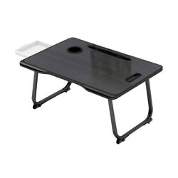 Folding Laptop Table Desk Notebook Learning Writing Desk Mit Small Drawer Cup