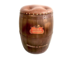 Stella Beer Whisky Barrel Storage Seat Chair Stool Faux Leather Bar Oak Wooden