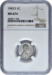 1943 S 1c Lincoln Steel Wheat Cent Ngc Ms 67 Star