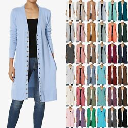 Themogan S3x Classic Snap Button Front V-neck Long Sleeve Knit Long Cardigan