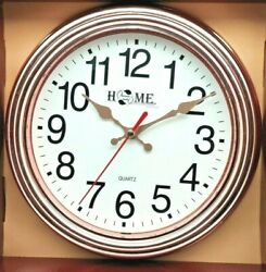 8.9quot; Wall Clock Round Silent Non Ticking Quartz Easy to Read Golden