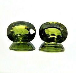2x Sapphire/sapphire - Oval Green Pair Facetted Ct 0 9/32x0 11/32in 2549a