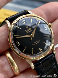 Tudor Rolex Made Oyster Mens Solid Gold Vintage Watch Smiley Serviced