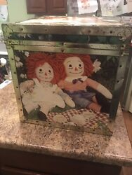1970's Vintage Raggedy Ann And Andy Doll Toy Box Chest Rare