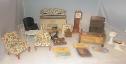 Vintage Lot Wood Doll Furniture Grandfather Clock,bed,magazine Rack,sofa,sewing+