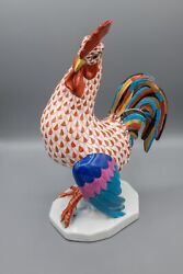 Herend Large Rooster Bird Figurine Red Fishnet Gold Accents Hand Paintedandndash 9 1/8
