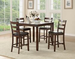 Casual Simple Counter Height Dining 5pc Set Table Cushion Chairs Kitchen Dining