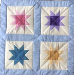 """Hand Made Quilted Table Topper Wall Hanging Quilt Stars 17""""x17"""" Square"""