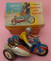 Motorcycle Tricycle W Sidecar Tin Litho Wind-up Toy And Key Boxed China '70s Works