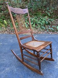 Antique American L.g. Fullam And Sons Oak W/cane Seat Rocking Chair Rocker W/pegs