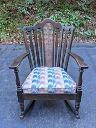Vintage American Mahogany Rocking Chair Rocker W/arms Cane Back Colorful Fabric