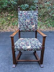 Antique English Jacobian-style Solid Oak Mission Arm Chair W/olde World Tapestry