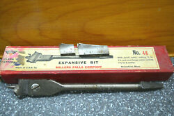 48 Millers Falls Expansive Wood Drill Bit W 2 Blade Ends And Box, 7/8-1 3/4-3