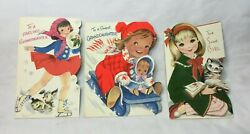 3 Used Mid Century Buzza Cardozo Christmas Cards Grand Daughter And Sweet Girl